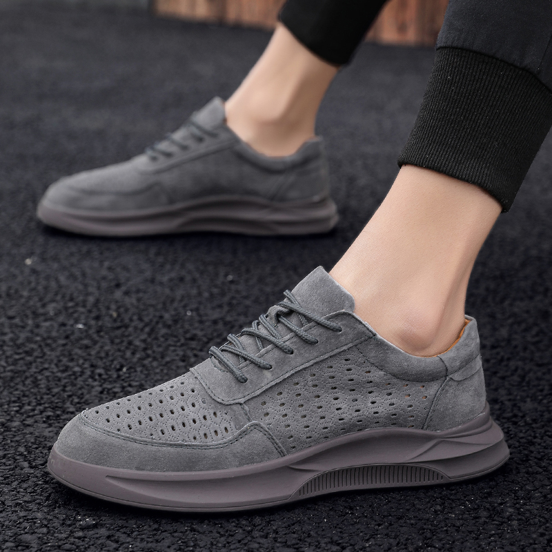 UNN 2019 Newest   Leather   Genuine Men Sneakers Comfortable Pig   Suede   Lace-up Shoes Casual For Men Flats Men Footwear Khaki