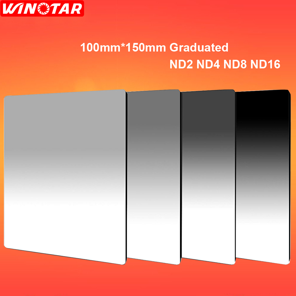 100mm x 150mm Graduated ND2+ND4+ND8+ND16 Neutral Density 100*150mm Graduated Square Filter for Lee Cokin Z series цена