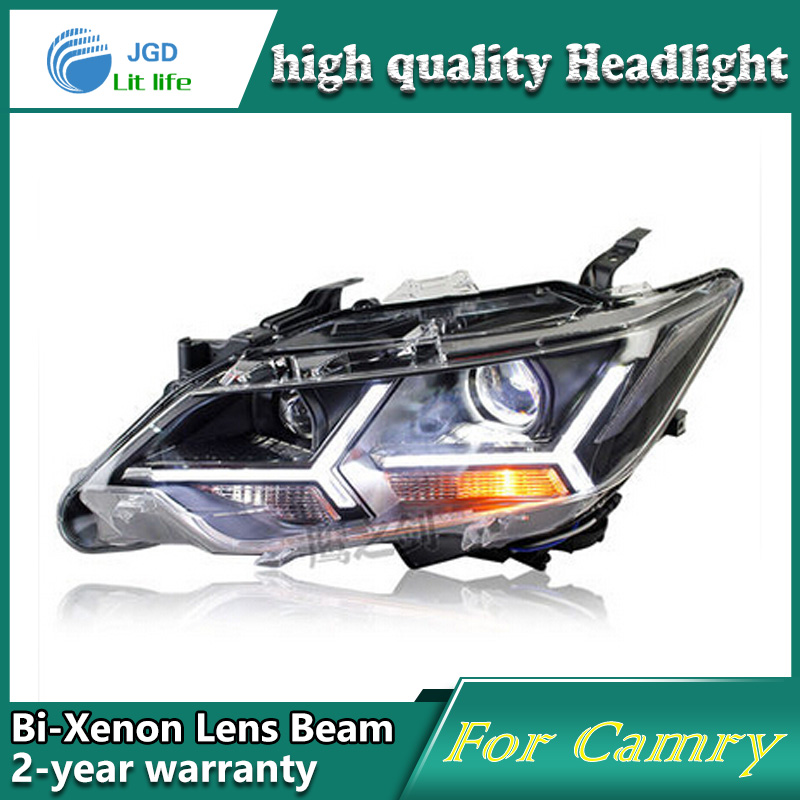 high quality Car styling case for Toyota Camry 2015 Headlights LED Headlight DRL Lens Double Beam HID Xenon Car Accessories for toyota camry led headlights car styling 2015 for camry xenon headlights led drl light guide bifocal lens headlight light