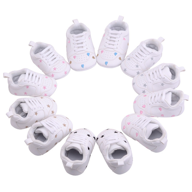 2019 Baby Shoes Newborn Boys Girls Heart Star Pattern First Walkers Kids Toddlers Lace Up PU Sneakers 0-18 Months 1