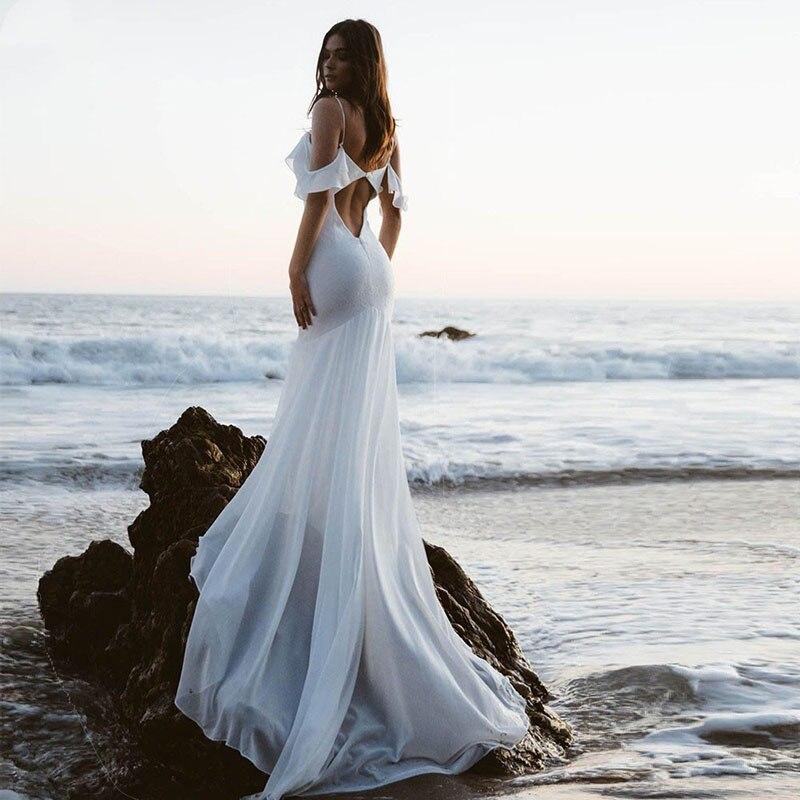 Beach Wedding Dress Spaghetti Strap (4)