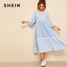 SHEIN Frill Trim Gingham Striped Print Women Dress Spring Three Quarter Length Sleeve A Line Maxi Dress Round Neck Loose Dreess
