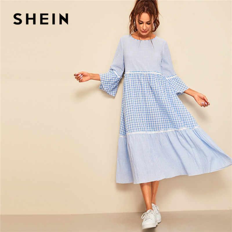 SHEIN женское платье с оборкой в мелкую клетку и полосатым принтом, весеннее платье с рукавом три четверти, а-силуэт, Макси платье с круглым вырезом, свободное платье
