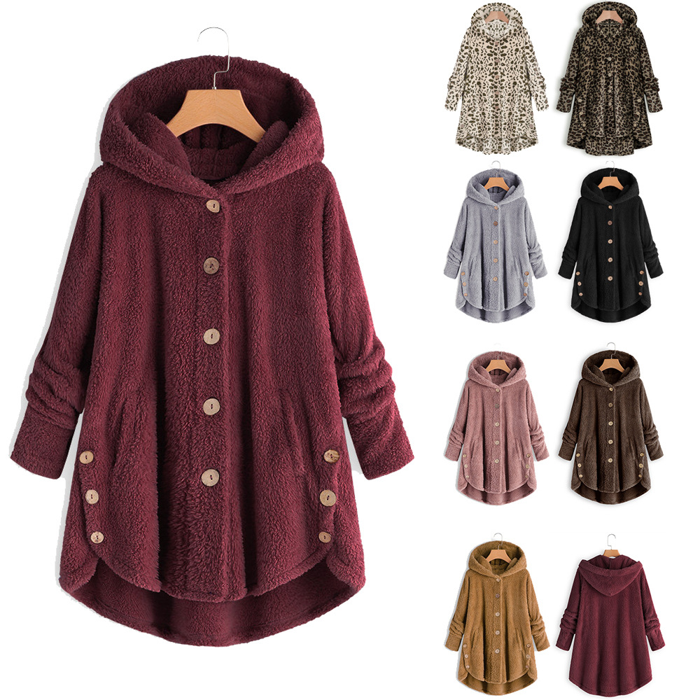 2019 Autumn Winter New Women's Large Size Hooded Jacket Long Sleeves Splice Long Cardigan Coat Loose Fashion Ladies Clothes