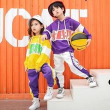 เสื้อผ้าเด็กทารก 2 ชิ้นชุดฤดูใบไม้ผลิฤดูใบไม้ร่วง 2019 เด็ก hip hop dance ชุดเด็กชุดกีฬาชุดเต้นรำหญิงชุด