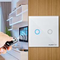 EU Standard ST1 2Gang 170 240V 433MHz Wall Switch Touch Switch Smart Remote Control Luxury Crystal