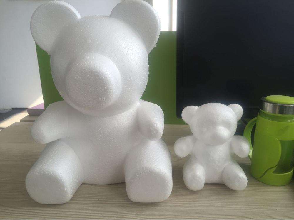 Hot Sale Polystyrene Styrofoam Foam Model  Teddy Rose Bear White Craft Balls For Children/kids Handmade DIY Materials Many Sizes
