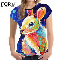 FORUDESIGNS Harajuku Female T Shirts With Cute Rabbit Tee Shirt For Women Super Kawaii TShirts Girls