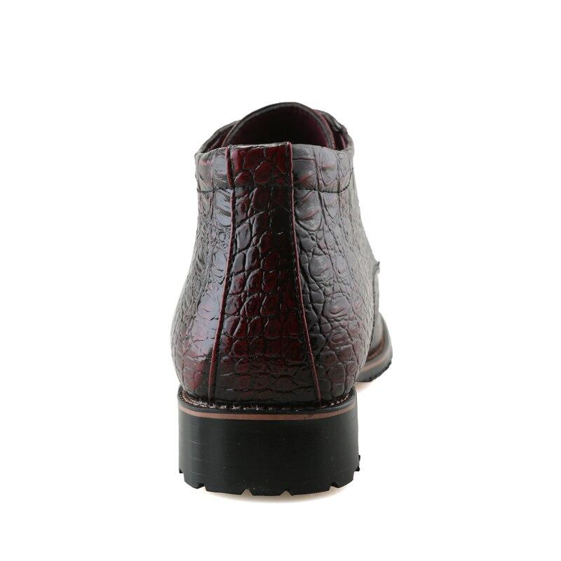 Picture Zapatos Genuíno Vestido Ocasional Couro Motocicleta Martin Masculino Novos Outono Boots Color Color Ankle Crocodilo Mens Primavera Lace picture Sapatos De Up Padrão HvTwxdvq45