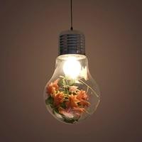 Creative personality pendant lamp iron glass big bulb lamp music bar simulation flowers and grass E27 DIY decorative lighting