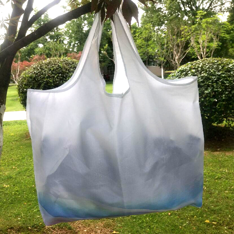 White Large Capacity Reusable Folding Shopping Bags Portable Nylon bags Foldable Waterproof ripstop Shoulder Bag Shoulder Bag
