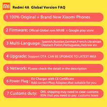 Global Vesion Xiaomi Redmi 4A Mobile Phone Snapdragon 425 Quad Core CPU 2GB RAM 16GB ROM 5.0 Inch 13.0MP camera 3120mAh Battery