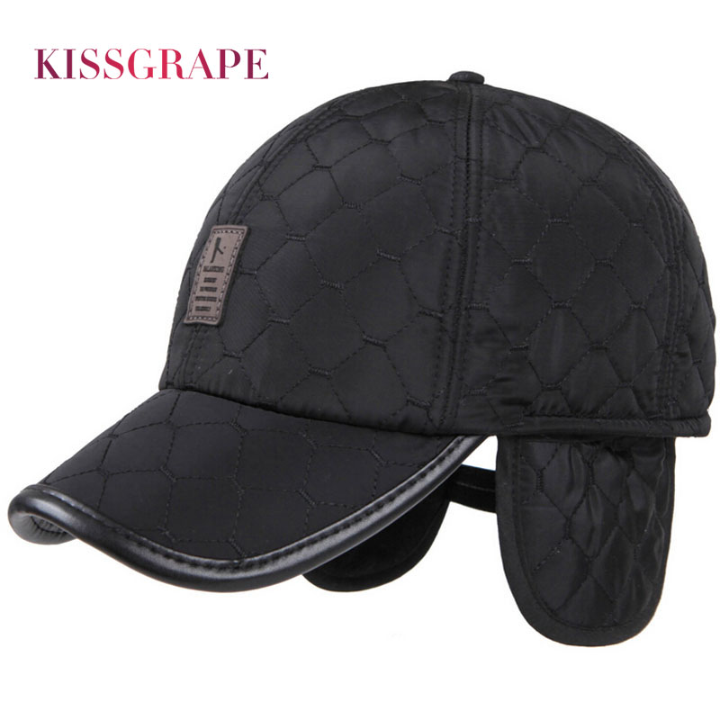 New Winter Warm   Baseball     Caps   for Men Thicken Fleece   Cap     Baseball   Hats with Ear Flaps Male Bone Snapback Outdoor   Cap   for Father