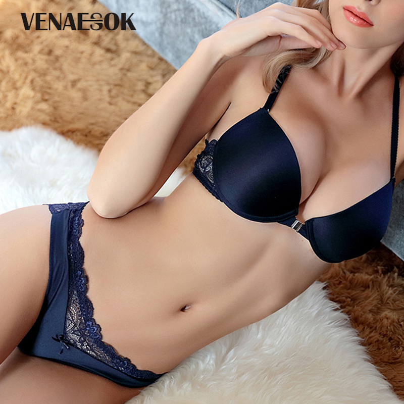 Y-line Straps Fashion Brand Front Closure   Bra     Set   Push-up Thick Blue VS   Bra   and Panties   Sets   Lingerie Sexy Lace Underwear   Set