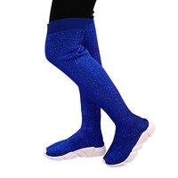 2018Women Knitting Sock Boots Sport Flat Handmade Fall Winter Rhinestones Sneaker Women Air Brand Thigh High Botas