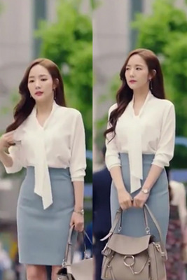 4sizes White Shirt Blouse Ribbon Large Why Secretary Kim Same Smile Kim Pregnant Maternity Woman TV Korean Drama Chiffon