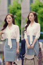 цена на 4sizes white shirt blouse Ribbon Large why secretary Kim Same Smile Kim Pregnant Maternity woman TV Korean Drama Chiffon