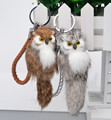 2 colorsPlush Genuine Rabbit Fur Leather  Owl  Keychain Charm Car Keyring