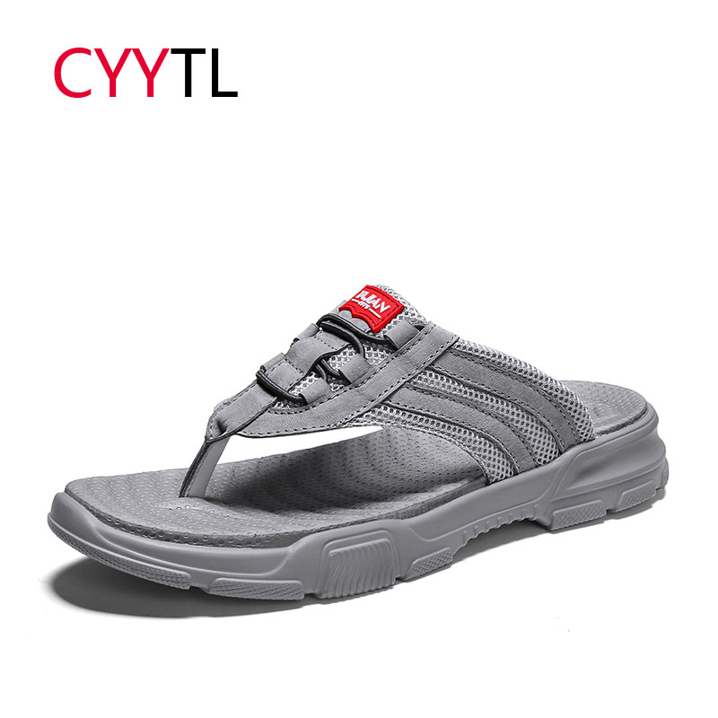 CYYTL 2019 Summer Men Slippers Breathable Outdoor Flip Flops Casual Beach Sandals Male Shoes Height Sneakers Terlik Hombre