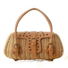 Heißer verkauf mode Aushöhlen Bambus Handtasche Sommer Strandtasche für Frauen Berühmte Design Luxus Sommer Tasche Einkaufstasche