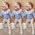 Floral Niñas Bebés Ropa de Manga Larga Camiseta de Encaje + Pantalones Casual Algodón Venda de la Flor 3 unids Equipos Del Bebé Ropa de La Muchacha conjunto