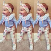Floral bebê meninas roupas de manga longa camiseta rendas + calças casual flor algodão bandana 3pcs roupas bebê menina conjunto
