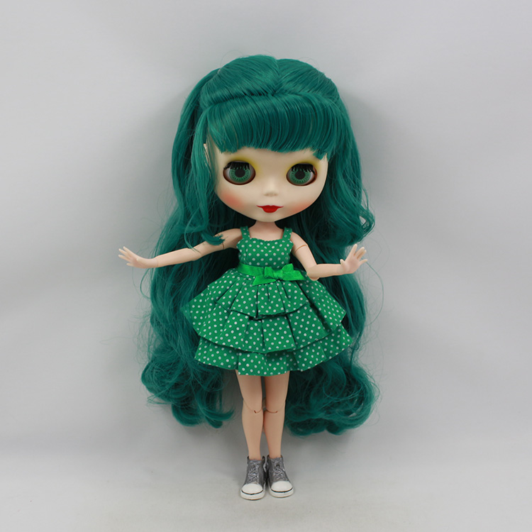 Blyth nude doll diy boneca cabelos longos green wig with bangs 30cm fashion doll joint body limited edition baby dolls for girls