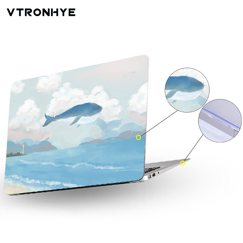 Laptop Case For Xiaomi Notebook Air 12.5 13.3 Inch Dolphin Painting Full Body Hard PC Protective Shell For Xiaomi Mi Air 12 13