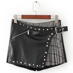 Nice Fashion Spring Autumn Women Shorts Black Fly Zipper PU Leather Plaid Shorts Female Pleated Rivet Short Pants Femme