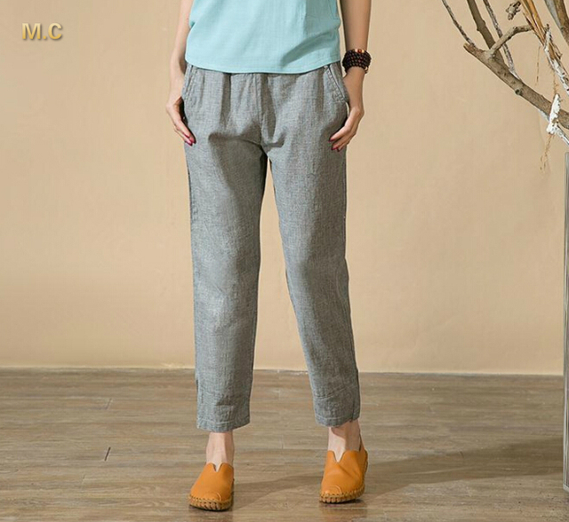 912c4662ed9d7 High waist pants women casual capris elastic waist gray green summer spring plus  size linen blend straight trousers zyy0601