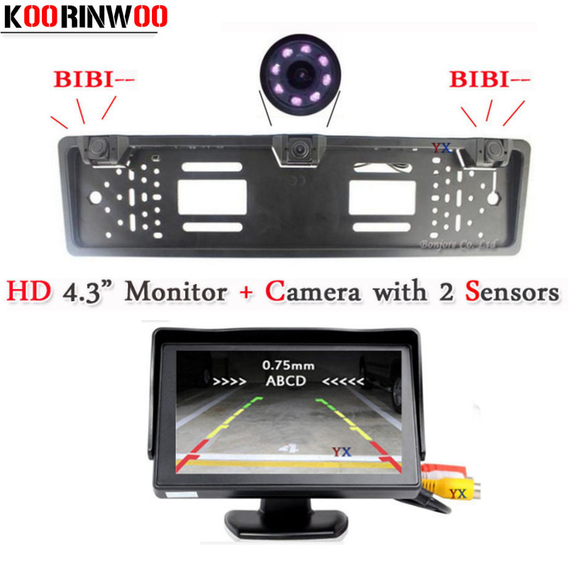 цена на Koorinwoo Car European License Plate Frame camera Parking System Car Rear View Camera 2 parking Sensors Car Monitor Parktronic