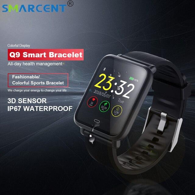 Q9 IP67 wodoodporny monitor ciśnienia krwi, kolorowy ekran bransoletka sportowa fitness inteligentny zegarek na opasce na telefon z ios pk mi 3 pasek
