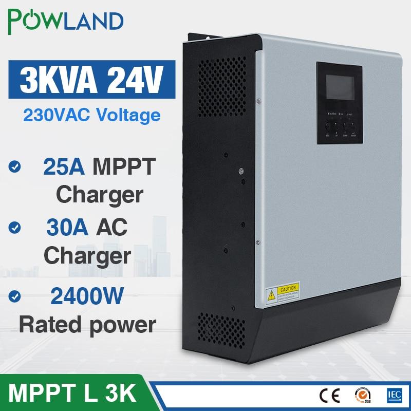 3KVA Solar Inverter 2400W 24V 220V Hybrid Inverter Pure Sine Wave Built in MPPT Solar Controller Battery Charger inversor solarSolar Inverters   -