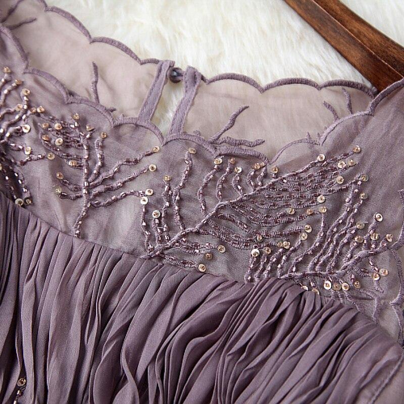 b5ecaee41e Wiosna lato runway projektant sukienki damskie ciemny różowy lawendy  sukienka plisowana suknia zroszony top event party wysokiej jakości marki w Wiosna  lato ...