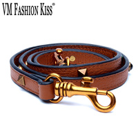 VM FASHION KISS Genuine Leather Woman Bag Strap 2018 Leather Strap Long 120 cm Rivet You Bag Accessories Ladies Shoulder Strap