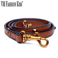 VM FASHION KISS Genuine Leather Woman Bag Strap 2018 Leather Strap Long 120 cm Rivet You Bag Accessories Ladies Shoulder Strap