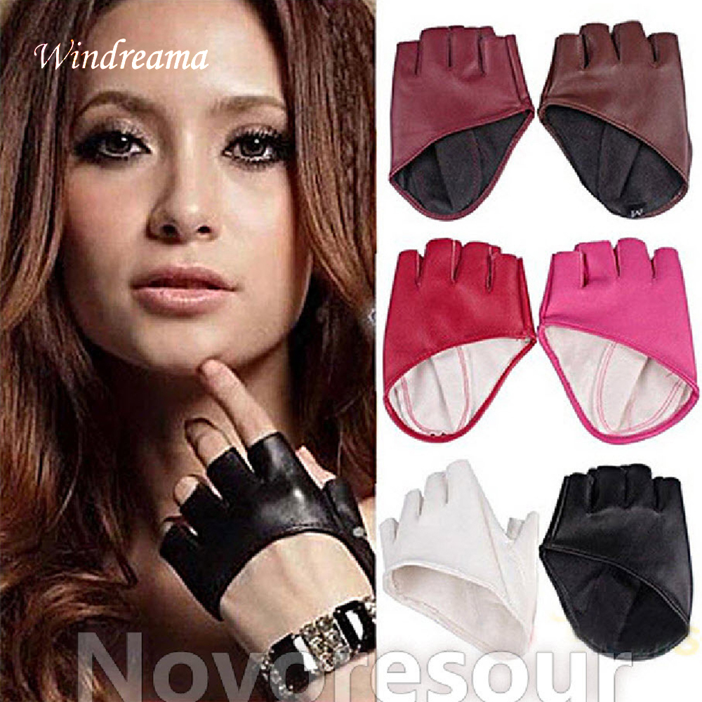 Windreama Fashion PU Half Finger Lady Leather Ladys Fingerless Driving Show Jazz Gloves for Women Men