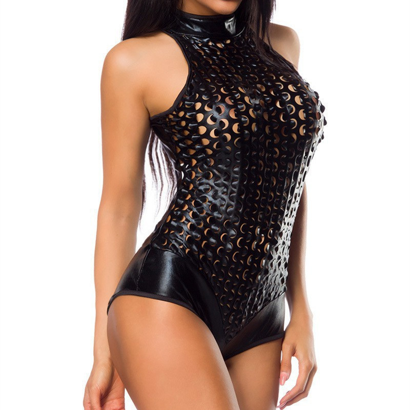 Fashion Sexy Womens PU Leather PVC WetLook Bodysuit Catsuit Sleeveless Leotard Top Clubwear   Jumpsuit   Rompers Pole Dancing