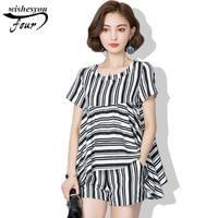 Women Blouse Fashion Casual Style 2017 Summer New Large Size Women Suit Fat MM Stripe Cotton