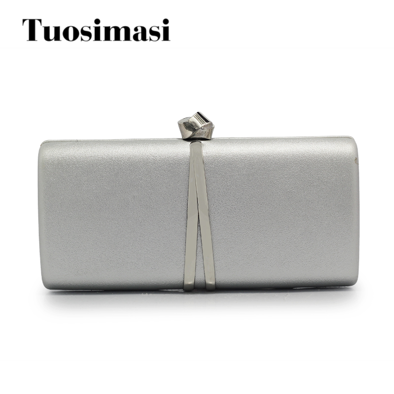 2017 New Party Bag Women Evening Bags Grey Gold and Black PU Box Ladies Wedding Clutches Day Clutch With Chain(C1396) party box black
