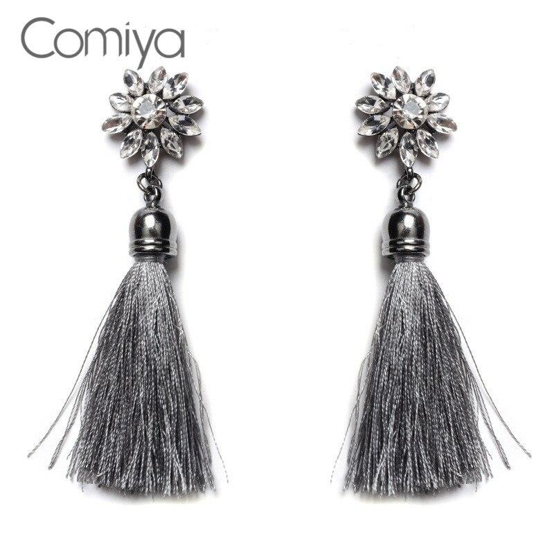 UK Vintage Women Rhinestones Crystal Tassel Drop Dangle Stud Earrings  Jewelry