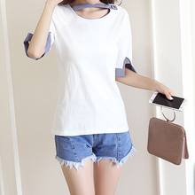 2018 Summer Cotton White Patchwork Shirt for Women Female Causal Loose O-Neck Floral Blouse One Size Women's Clothing