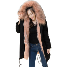 Luxury Lady Real Raccoon Fur Lining Coat Jacket Hoody Autumn Winter Women Fur Warm Outerwear Coats Clothing LF4047