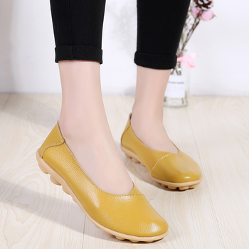 PEIPAH Spring Genuine Leather Comfortable Womens Shoes Shallow Flats Mother Peas Shoes Large Size Daily