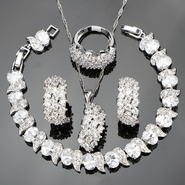 Weiß Zirkon Silber 925 Hochzeit Kostüm Schmuck Sets Frauen Armbänder Clip Ohrringe Anhänger Halskette Ringe Set Schmuck Geschenk Box