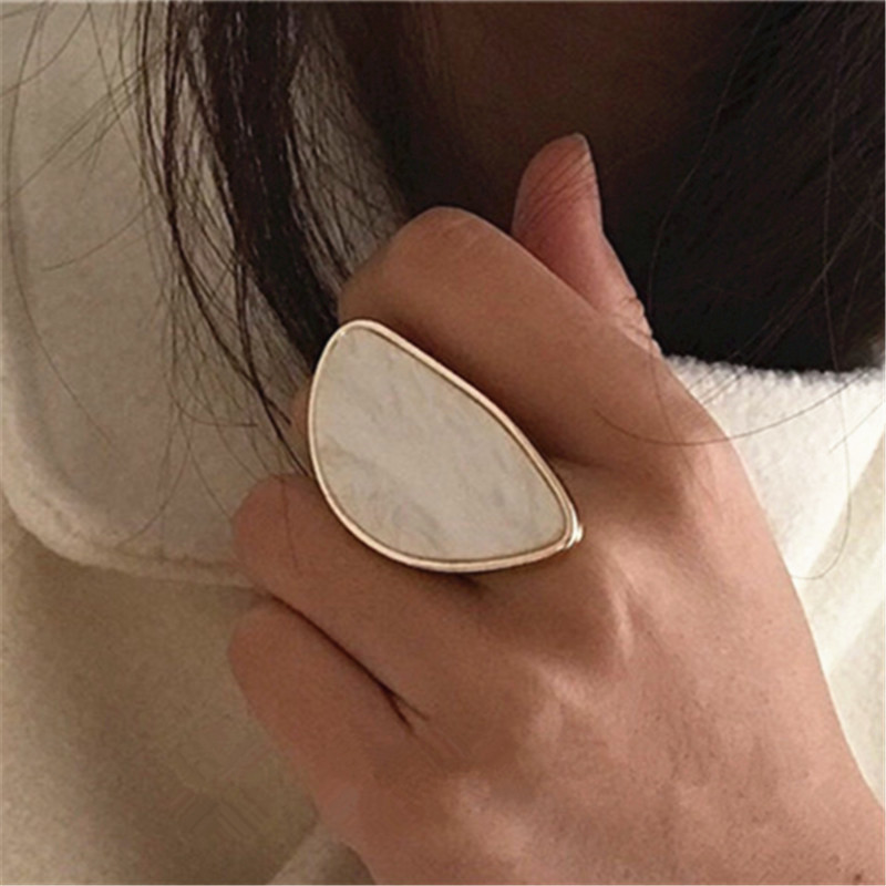 Fashion woman rings acetate plate The adjustable ring oval acrylic resin geometry rings Trendy Geometric Wedding bands rings(China)