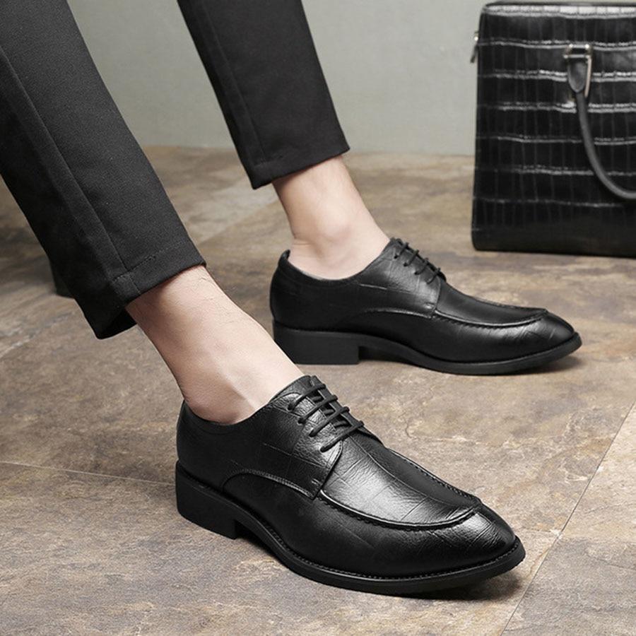Retro Apontado Casuais De amp; Homens Britânico Negócios Cavalheiro Dos Maré Couro Sapatos Macio Respirável Preto Dedo Confortáveis marrom Nice Rendas qwPRFP