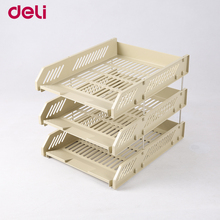 Deli file box three layers plastic data office desk magazine/paper Organizer documents/file trays stationary holders