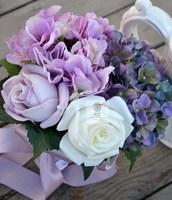 Handmade fleur artificielle fleur de mariage mariée tenant des fleurs PU rose gueldre cru multicolore