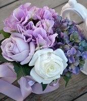 Hecho a mano de la flor artificial flor de la boda novia con flores PU guelder rosa multicolor de la vendimia